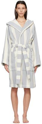 Tekla SSENSE Exclusive White and Blue Striped Bath Robe