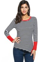 Meaneor Womens Striped Long Sleeve Tunic Top Loose T-shirt Dress Plus Size Black/XXL