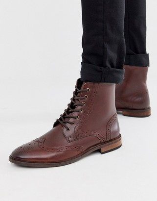 Asos Design DESIGN brogue boots in brown leather with natural sole