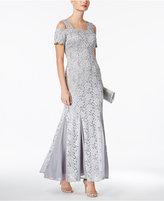 R & M Richards Petite Lace Cold-Shoulder Gown