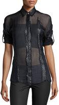 Versace 3/4-Sleeve Sheer Blouse, Black