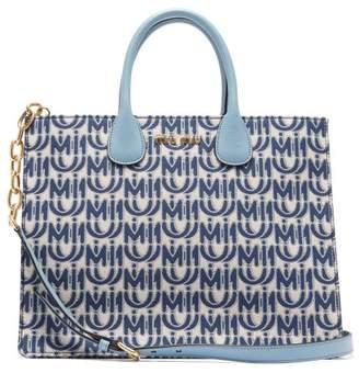 Miu Miu Logo-jacquard Leather-handle Tote Bag - Womens - Blue White