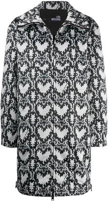 Love Moschino Heart Print Zipped Coat