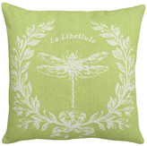 123 Creations Dragonfly Printed Linen Pillow w/ Feather-Down Insert-Chartreuse Green