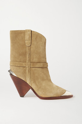 Isabel Marant Lamsy Embellished Suede Ankle Boots - Beige