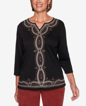 Alfred Dunner Petite Catwalk Embroidered Knit Top