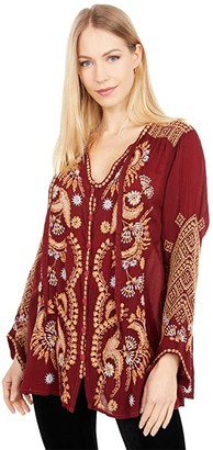 Johnny Was Minerva Blouse (Garnet) Women's Clothing