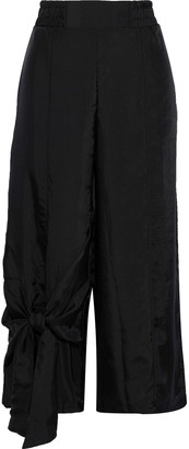 Clu Cropped Knotted Satin-twill Wide-leg Pants