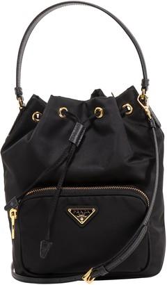 Prada Logo Top Handle Bucket Bag