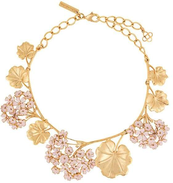 Oscar de la Renta Geranium painted necklace