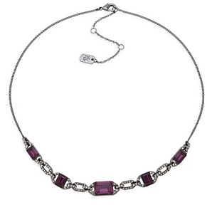 Ralph Lauren Ralph Pave & Purple Stone Statement Necklace in Hematite Tone, 16-19