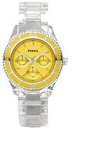 Fossil Women's ES2609 Clear Plastic Bracelet Analog Dial Multifunction Watch