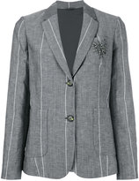 Brunello Cucinelli stoned pin striped blazer - women - Silk/Linen/Flax/Acetate/Virgin Wool - 40