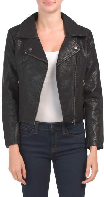 timeless design great discount sale sleek Juniors Moto Faux Leather Jacket