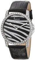 Freelook Women's HA8158-1 Swarovski Crystal Zebra Pattern Dial Black Leather Band Watch