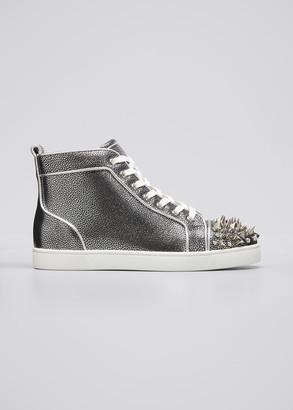 Christian Louboutin Men's Lou Pik Pik Orlato Metallic Grained Leather High-Top Sneakers