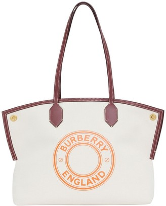 Burberry Medium Logo Graphic Cotton Canvas Society Tote