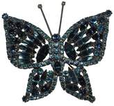 Silver Tone Metal Massive Blue Crystal Rhinestone Butterfly Pin