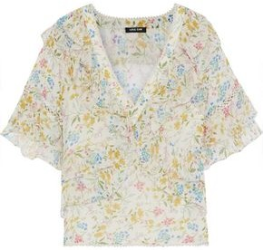Love Sam Blossom Ruffled Floral-print Voile Blouse
