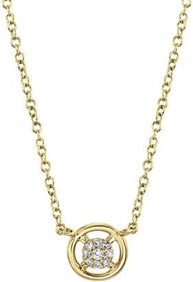 Ron Hami 14K Yellow Gold Pave Diamond Cluster Round Pendant Necklace - 0.04 ctw