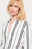 Dynamite Striped Button-Up Shirt With Front Tie
