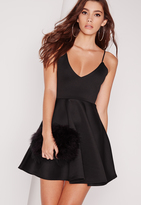 Missguided Strappy Skater Dress Black