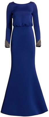Badgley Mischka Embellished V-Back Mermaid Gown