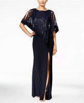 R & M Richards Petite Sequined Lace Cold-Shoulder Cape Gown