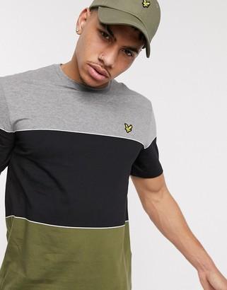 Lyle & Scott wide multi stripe t-shirt in green/ black