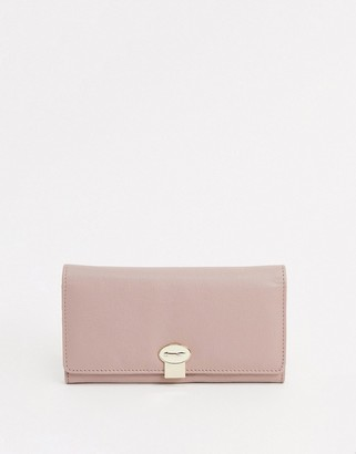 Paul Costelloe Claire leather flap-over purse in light pink