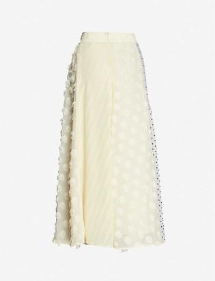 Stine Goya Maribelle contrast-panel high-waist crepe midi skirt