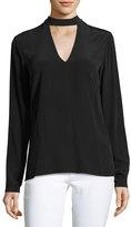 Dolce Vita London High-Neck Silk Blouse, Black