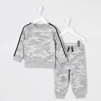 River Island Mini boys grey camo sweatshirt outfit