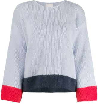 Fine Edge Striped Hem Knitted Jumper