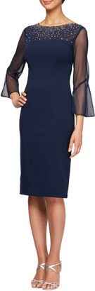 Alex Evenings Embellished Illusion Neck Sheath Dress
