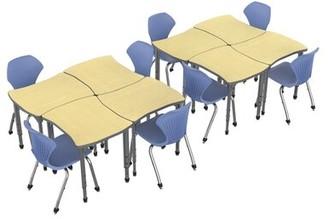Marco Group Inc. Classroom Set: 8 Collaborative Desks & 8 Chairs