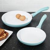 Crate & Barrel Aqua Sky Blue Ceramic Nonstick Fry Pans Set of Two
