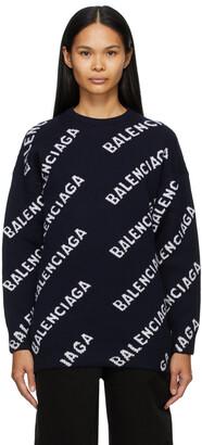 Balenciaga Navy Logo Oversized Crewneck