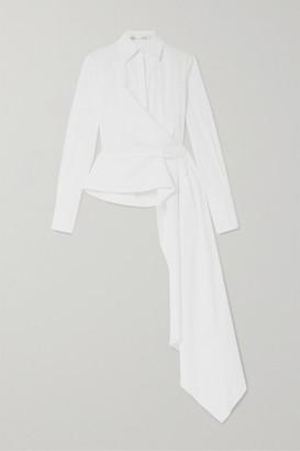 Oscar de la Renta Draped Cotton-blend Poplin Wrap Shirt - White