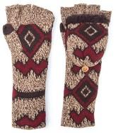 Muk Luks Women's Tribal Long Flip Mittens - Brown
