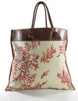 Valentino Garavani White Red Square Shoulder Strap Tote Handbag