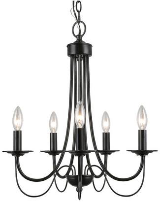 Lnc 5-Light Retro Style Chandelier Black Iron Industrial Pendant Light