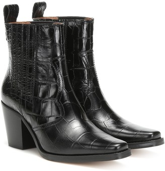 Ganni Western croc-effect leather ankle boots