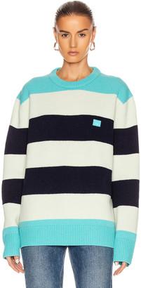 Acne Studios Block Stripe Sweater in Multi Turquoise | FWRD