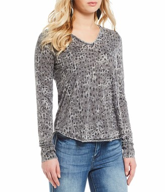 William Rast Women's Cooper Henley Long Sleeve Tee Shirt
