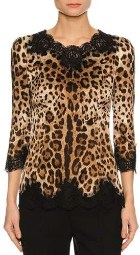 Dolce & Gabbana Lace-Inset Satin 3/4-Sleeve Blouse, Leopard