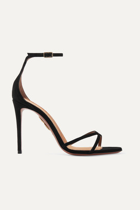 Aquazzura Purist 105 Suede Sandals - Black