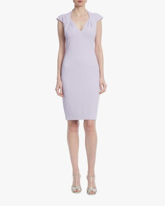 Badgley Mischka Lavender Pleated-Shoulder Day Dress