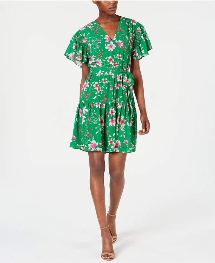 Vince Camuto Petite Flutter-Sleeve Floral Dress