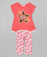 Coral Star Embellished Tee & Leggings - Toddler & Girls